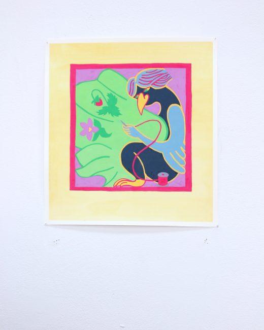 """Corvidae 3."" Gouache and watercolour. 11 1/2""x10 1/2"". 2019."