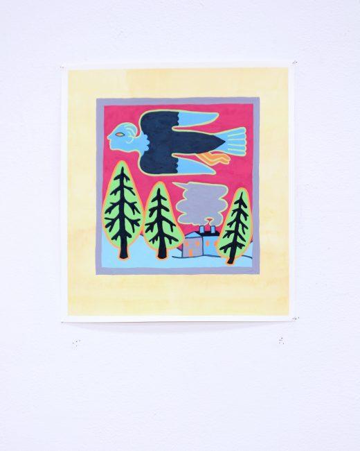 """Corvidae 4."" Gouache and watercolour. 11 1/2""x10 1/2"". 2019."