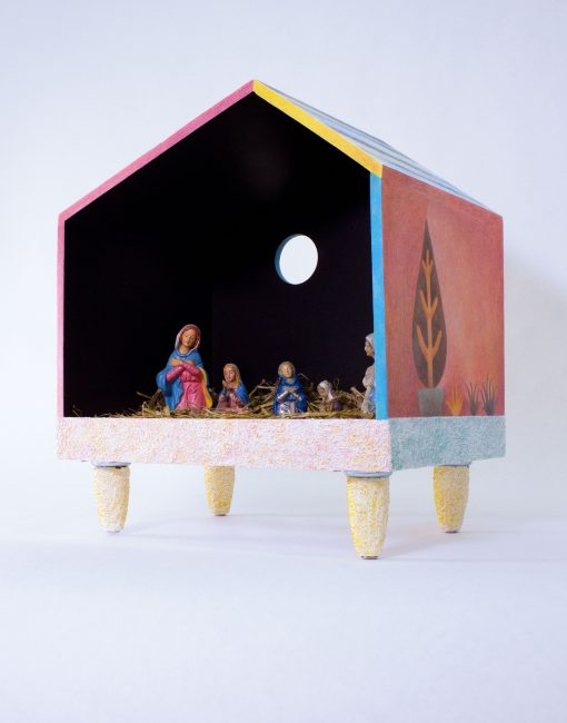 """Nativity."" Wood, acrylic paint, coloured pencil, straw, sand and found figurines. 18 ¾""x16¾""x11¾"". 2019."