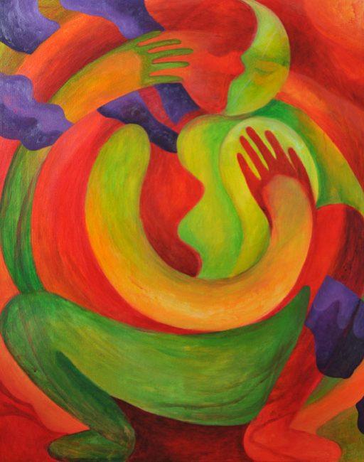"""Spiral Dance."" Acrylic on canvas. 30″x24″. 2017."