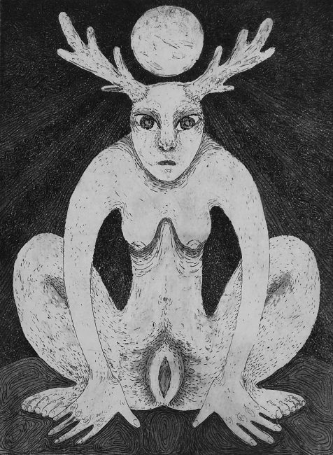 """Stag Woman Receives Power from the Moon."" Etching. 15""x11½"". 2017."