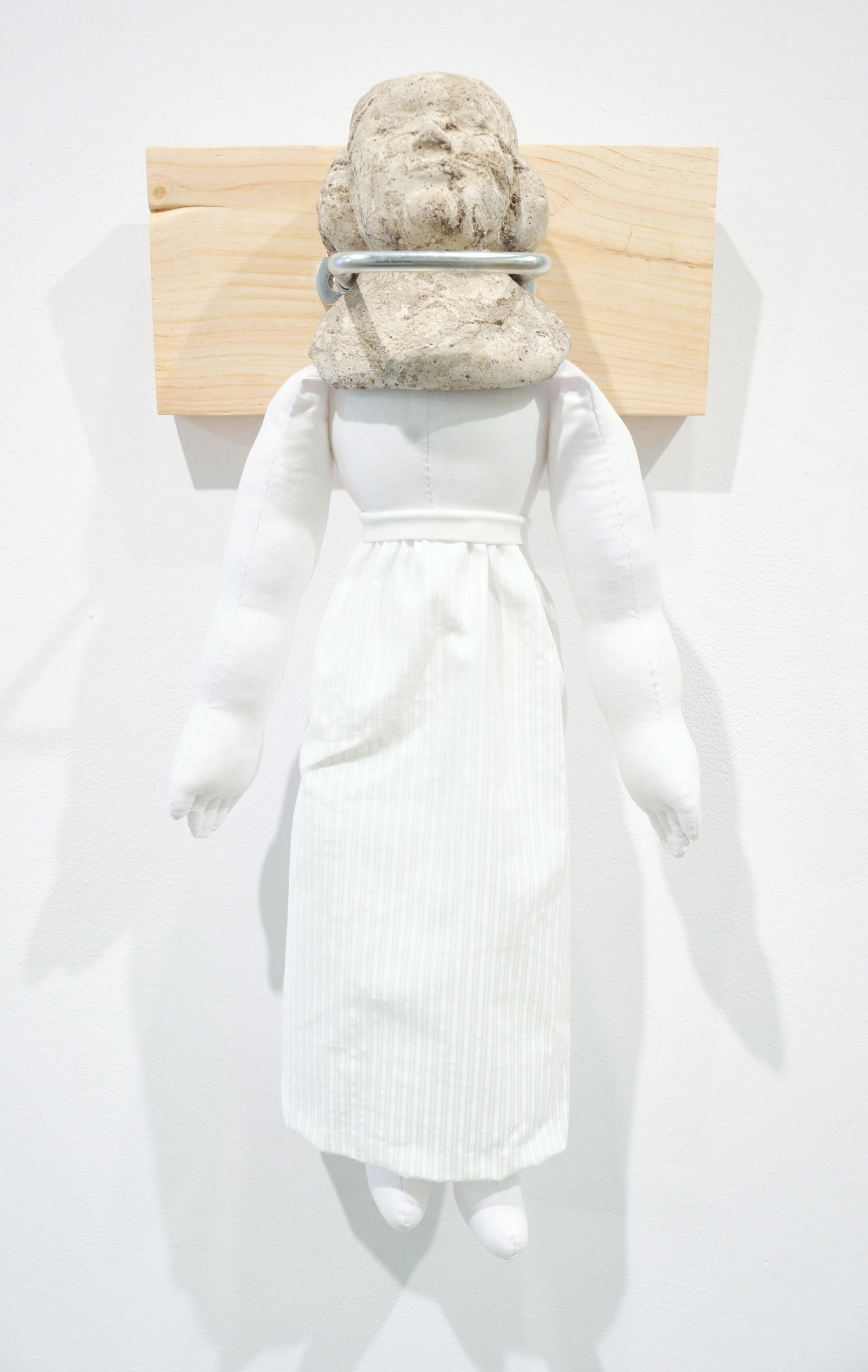 """""""Chinahead."""" Concrete, cotton, polyfill, wood and metal. 23""""x8""""x3½"""". 2019."""